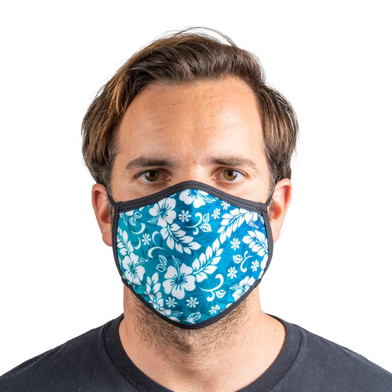 Unisex Everyday 'Blue Hawaiian Print' Face Mask