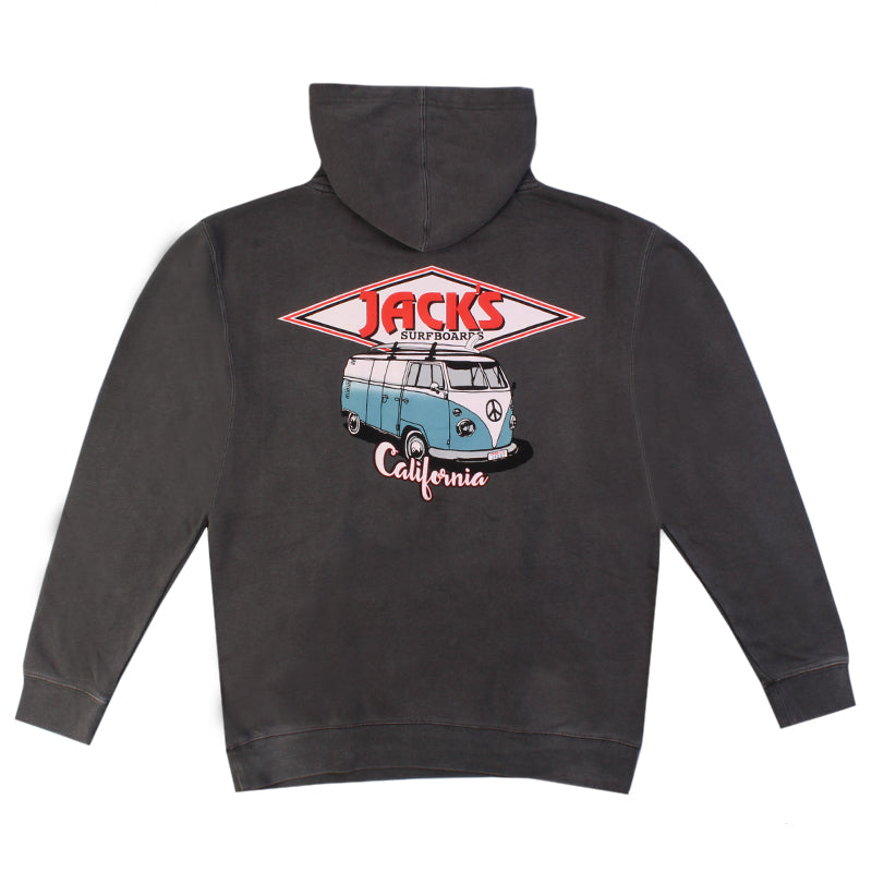 Jacks Surfboard CA Diamond Transport Vintage Wash Hoodie