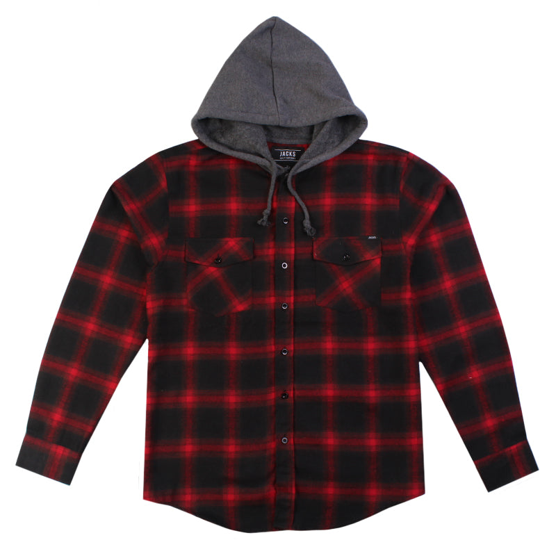 Jacks Surfboard Dillon Long Sleeve Hooded Flannel