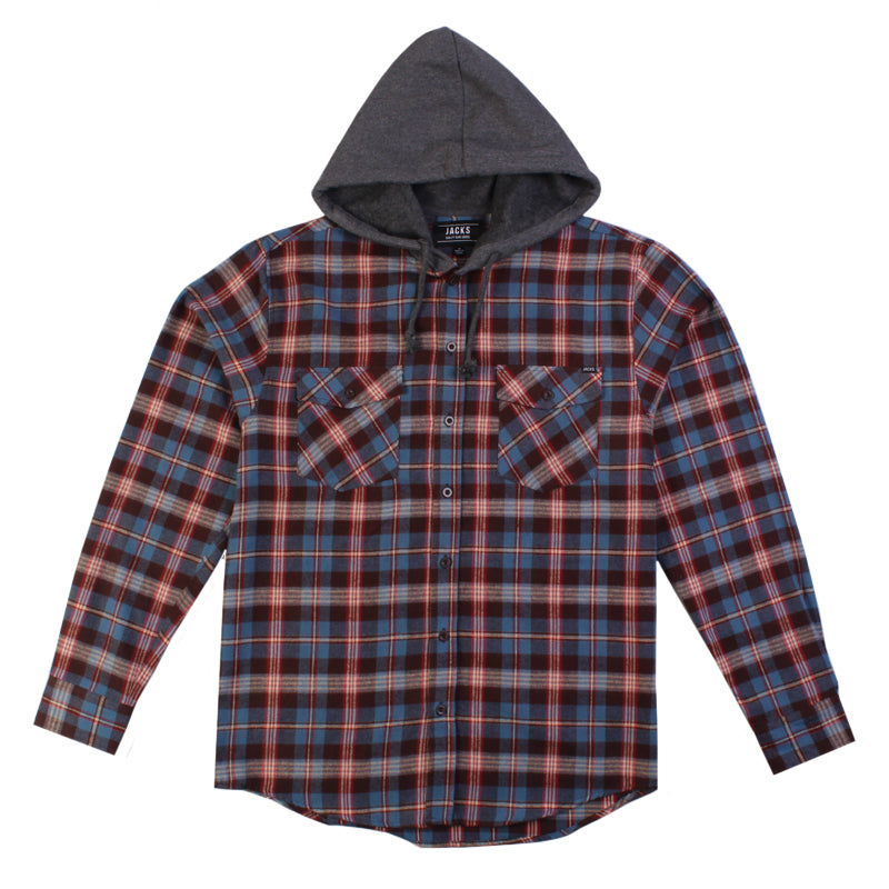 Jacks Surfboard Lincoln Long Sleeve Hooded Flannel