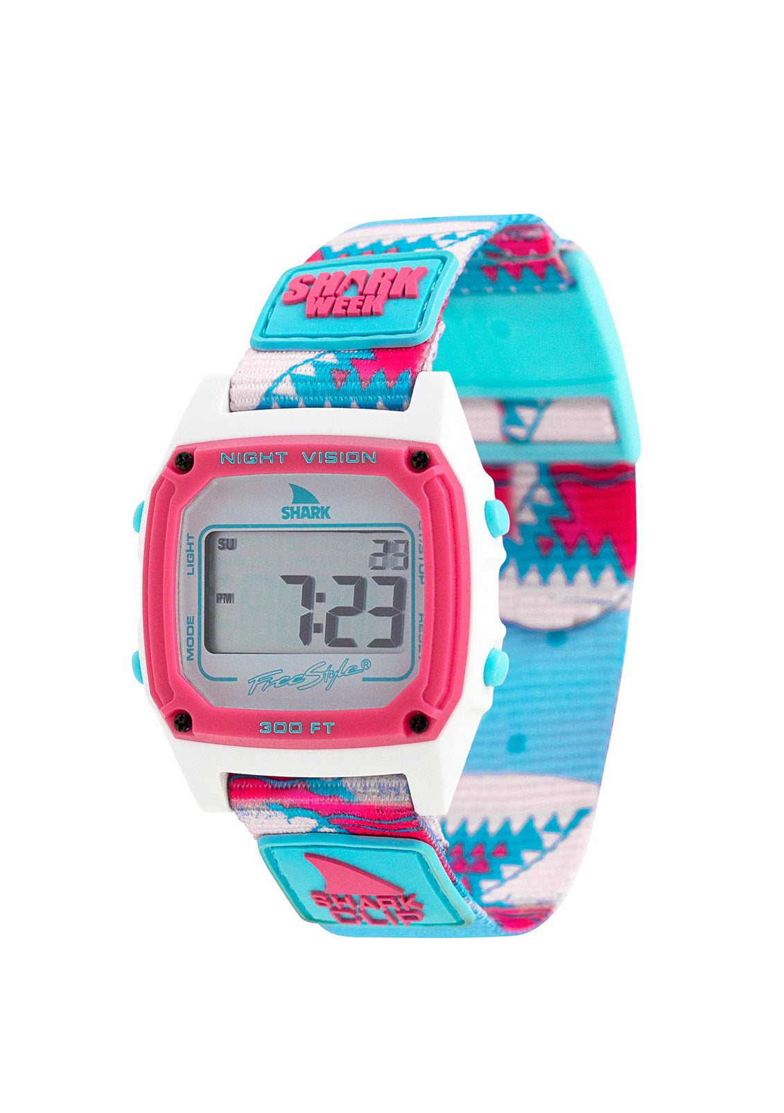 Shark Classic Clip Watch Shark Week Pink Teeth