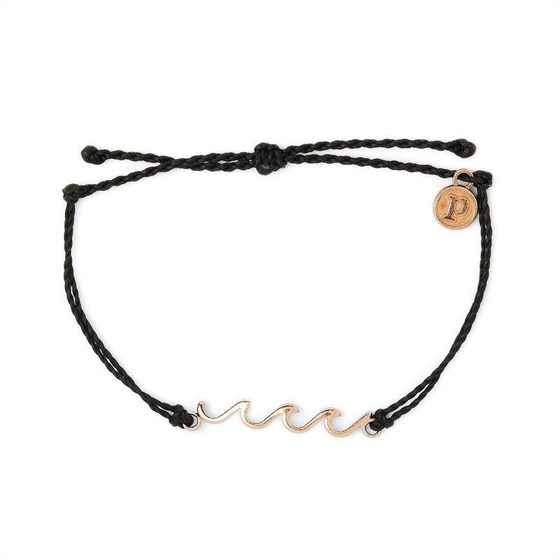 Pura Vida Women's Rose Gold Delicate Wave Bracelet