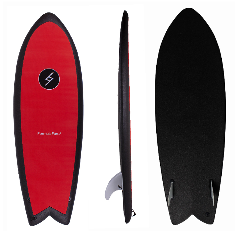 "5'3"" Black & Red Softboard"