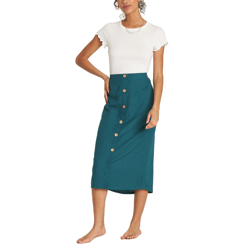 Womens Swaying Leaves Midi Skirt