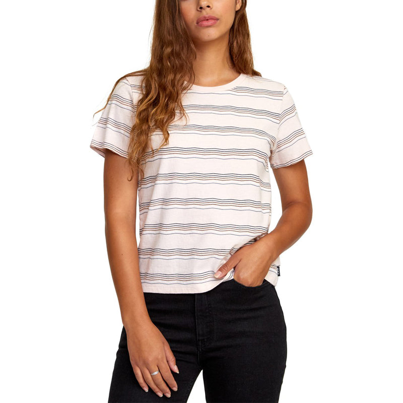 Womens Wavy Striped Baby S/S Tee
