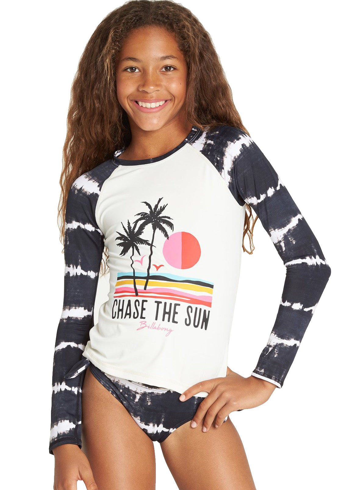 Girl's Washed Out Long Sleeve Rashguard