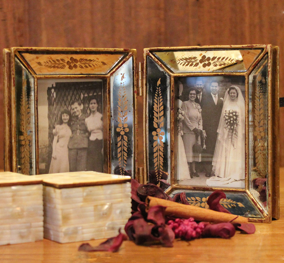 Double Venetian Style Mirrored Photoframe Small