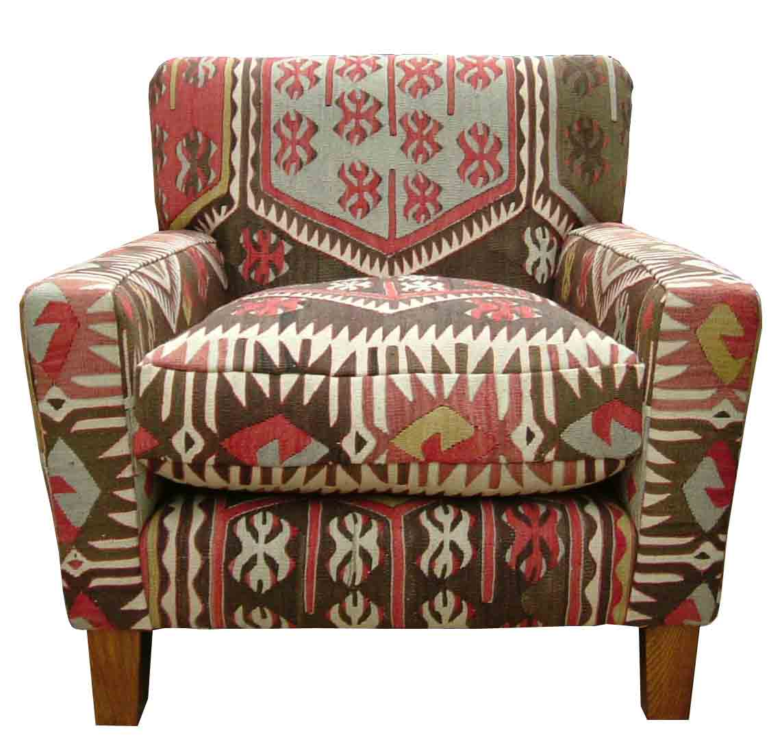 Lewes Fixed Back Chair in Turkish Kilim