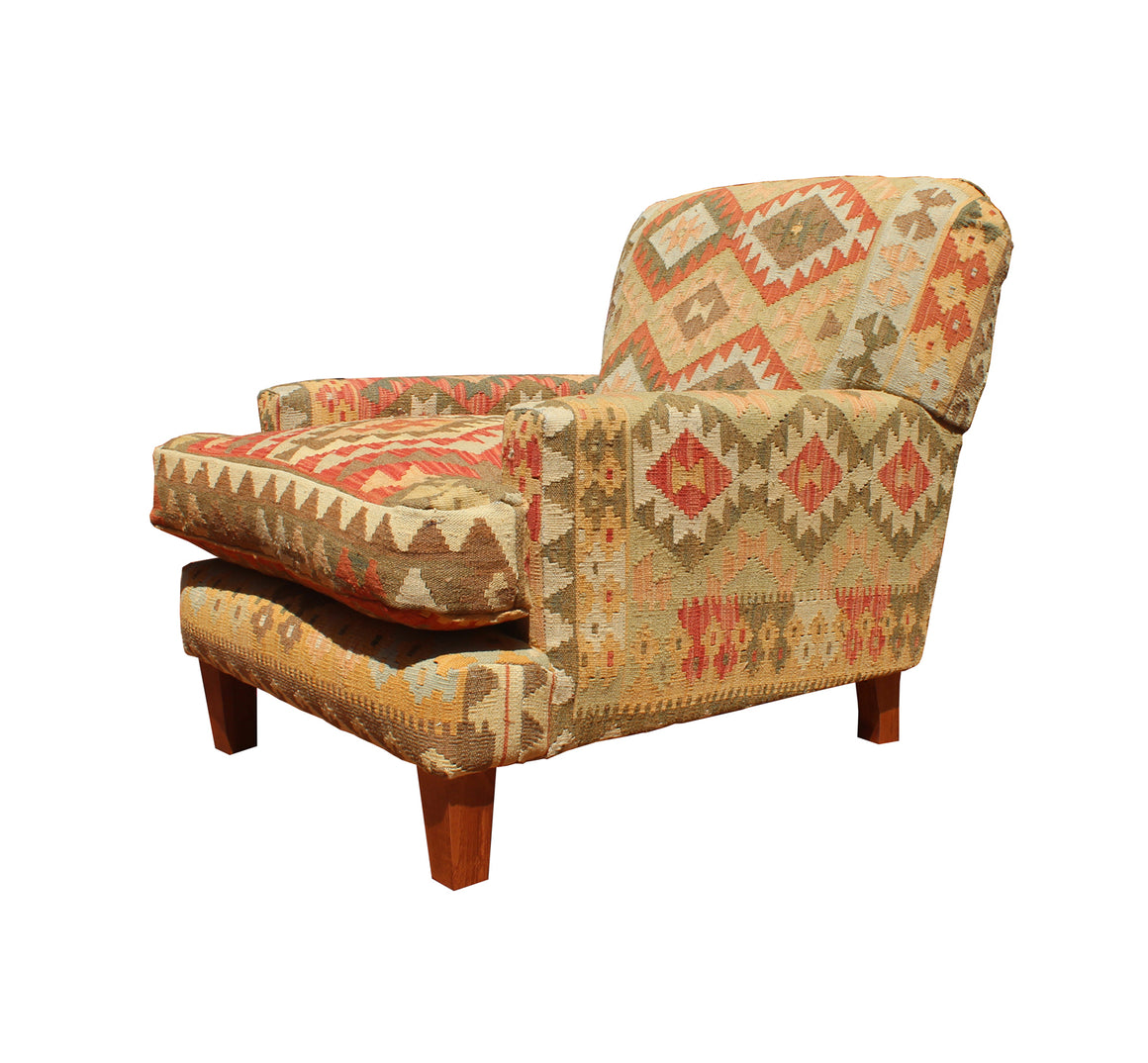 Worcester Fixed Back Chair in Kilim
