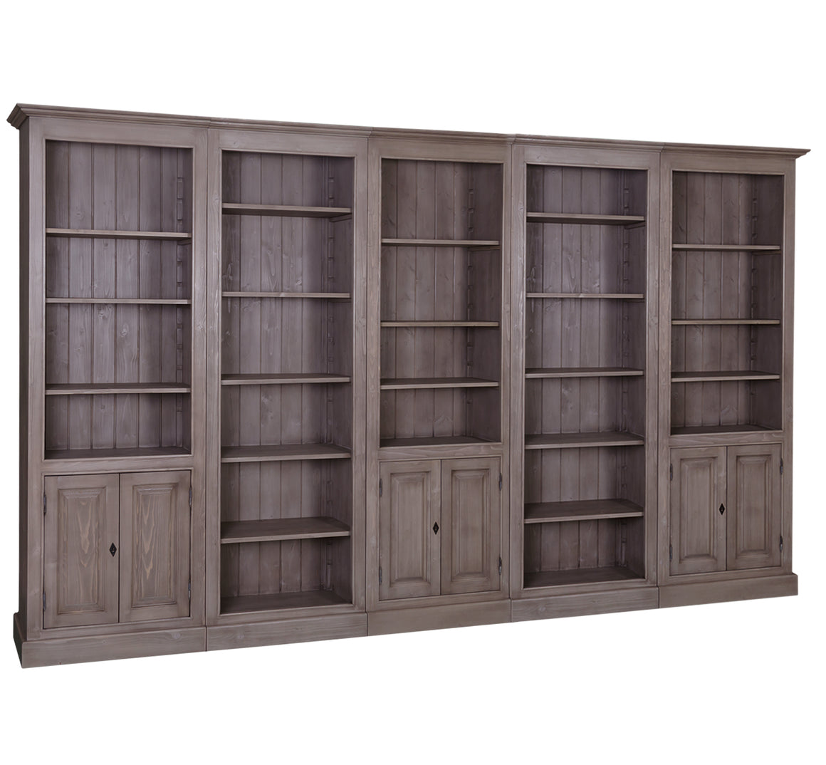 Library Bookcase with Cabinet Base