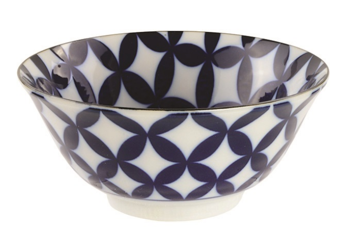 Shippo petal design blue and white bowl from Japan