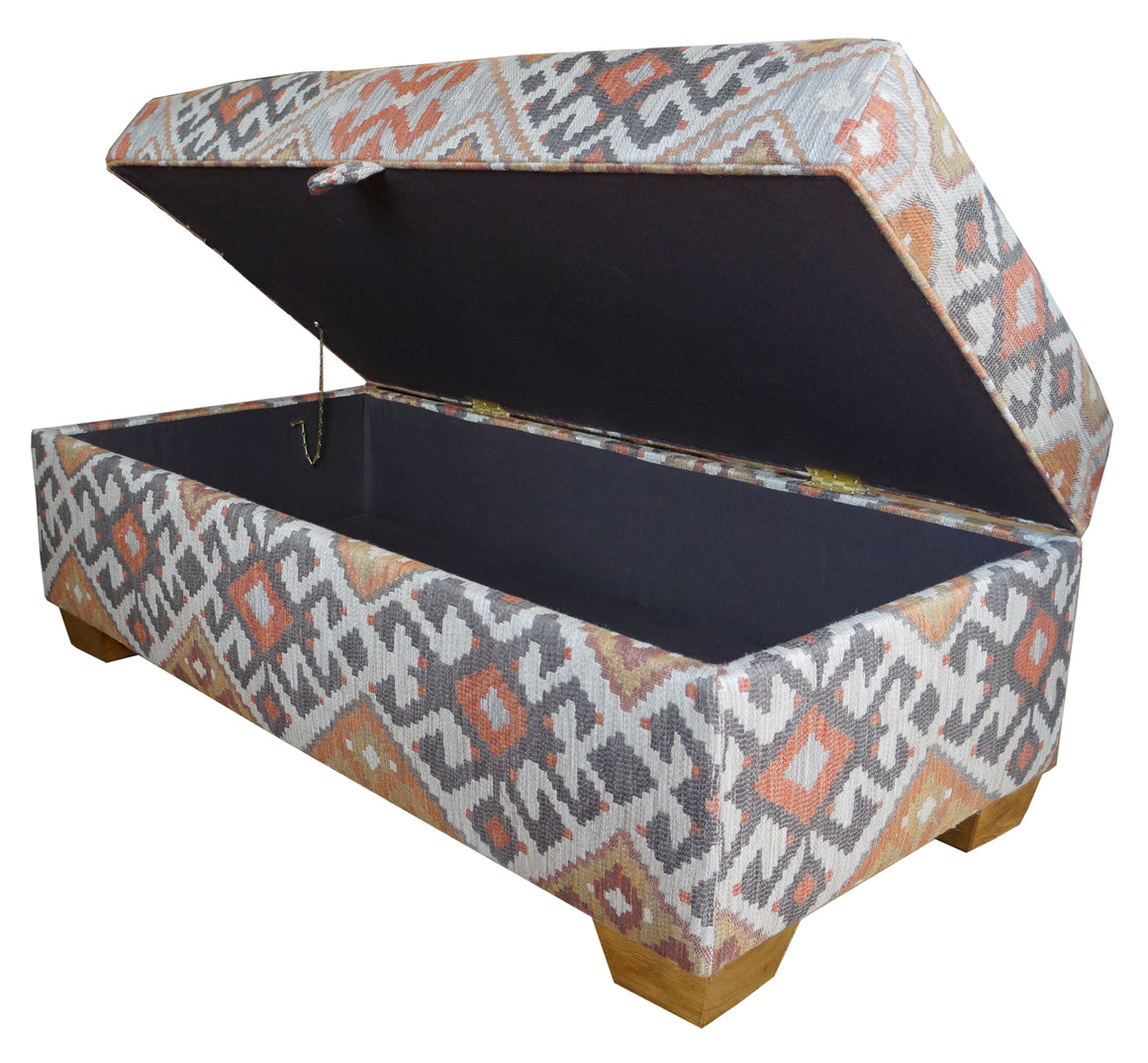 Box ottoman stool in Linwood Kilim fabric