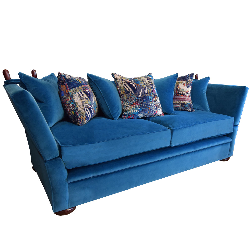 A Greenwich High Arm Scatter Back Sofa in Cascada velvet