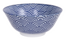 Wave design blue and white bowl from Japan