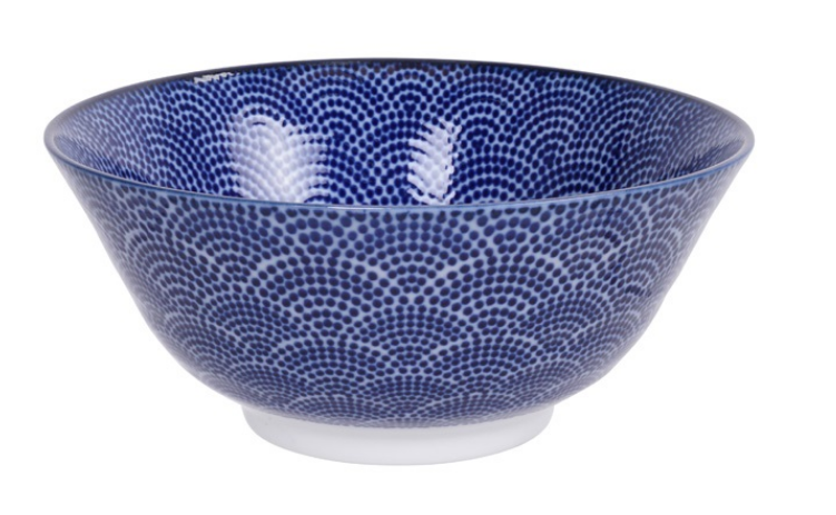 Rainbow dot design blue and white bowl from Japan