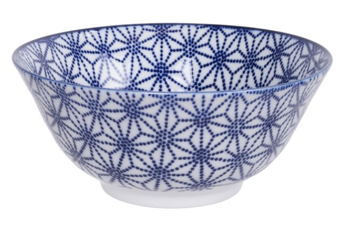 Star design blue and white bowl from Japan