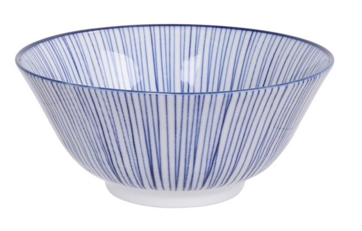 Stripe Bamboo design blue and white bowl from Japan