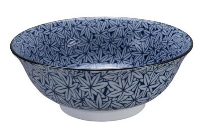 Momiji autumn leaf design blue and white bowl from Japan