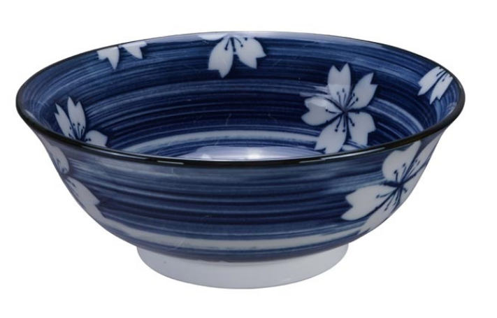 Hakeme lotus design blue and white bowl from Japan