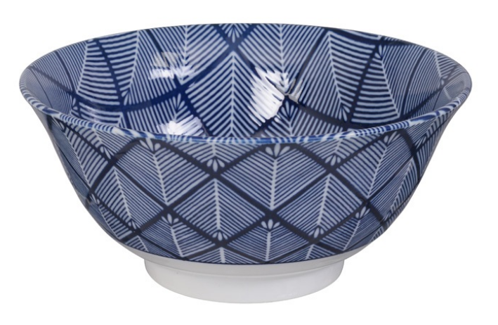Matsuba criss cross design blue and white bowl from Japan