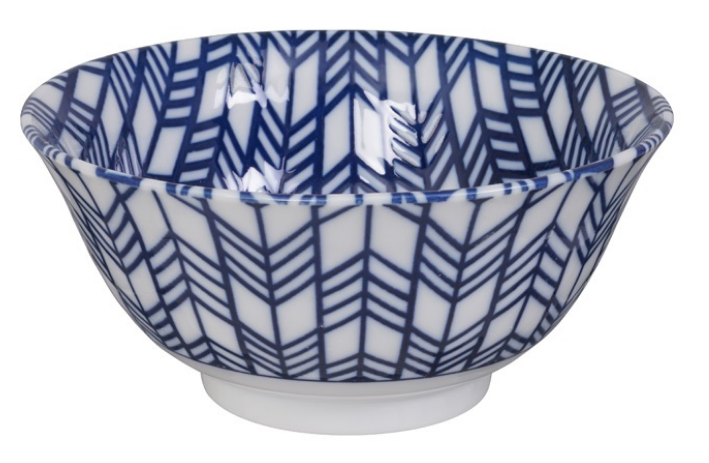Yabana arrow design blue and white bowl from Japan