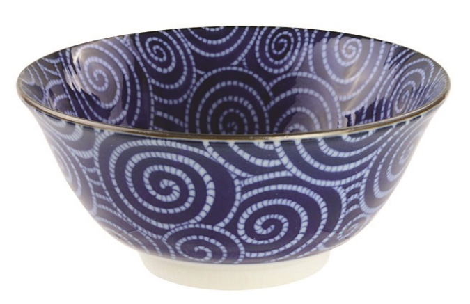 Karakusa arabesque design blue and white bowl from Japan