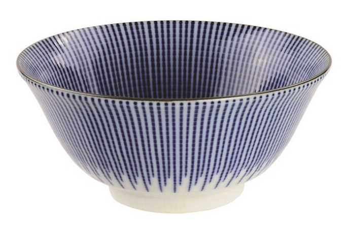 Tokusa stripe design blue and white bowl from Japan