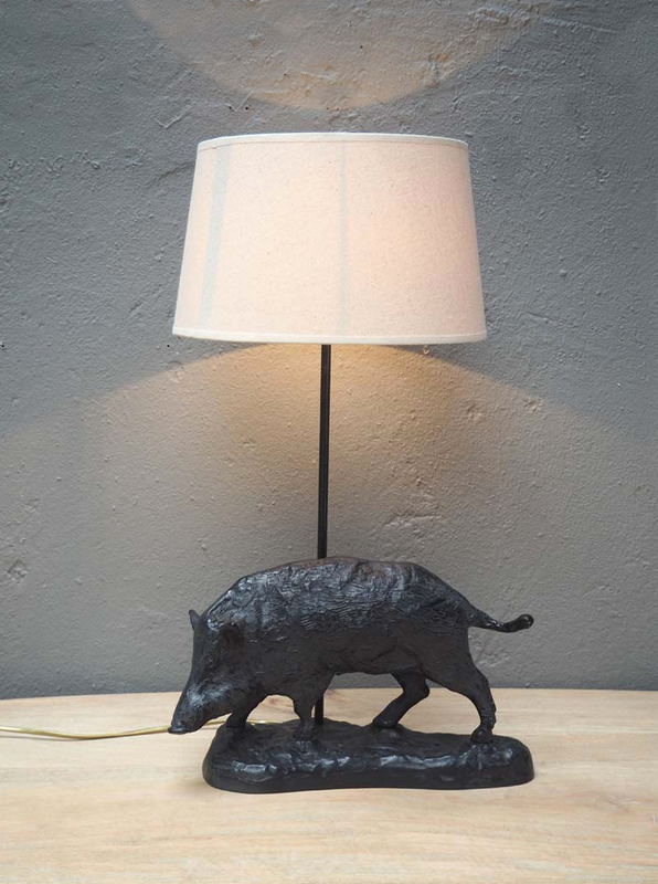 Sanglier Wild boar table lamp and shade