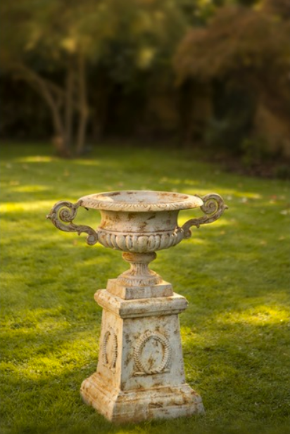 Cast iron Versailles style urn with handles on column