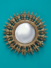 Encrusted gold sun mirror with convex centre