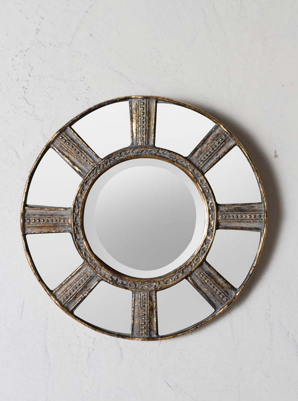 Gold edged round mirror with 8 section border