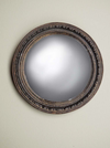 Black and gold beaded edge round mirror with convex centre