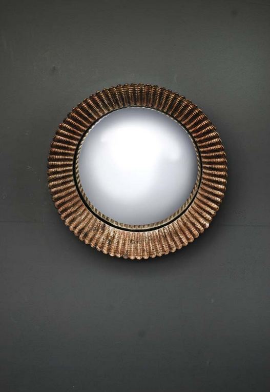 Gold piecrust mirror with convex centre