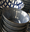 A Tokusa stripe design blue and white bowl from Japan