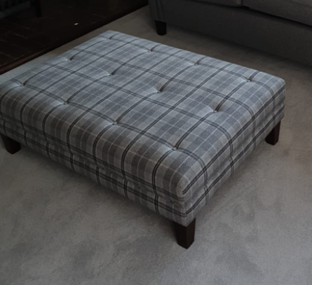 Flat buttoned footstool in Sanderson Milton Wool SALE OFFER