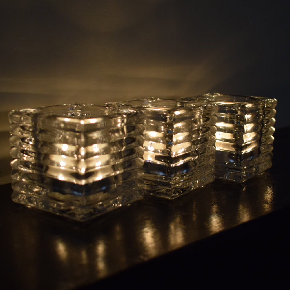 SPECIAL OFFER Pressed glass cube tealight holder