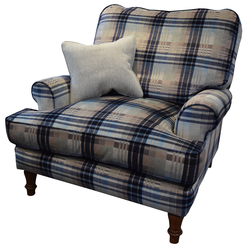 A cushion back York chair in Mulberry Ancient Tartan velvet