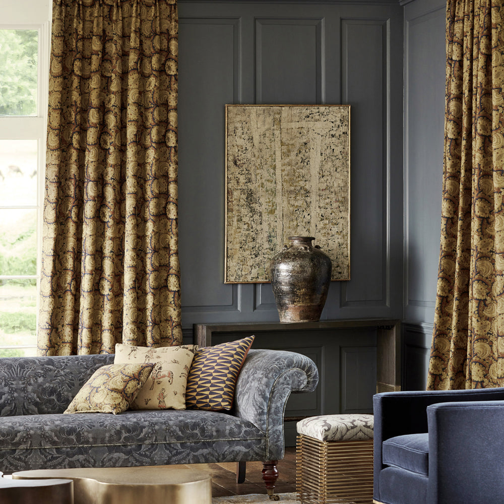 Pair of Triple Pinch Pleat Curtains in Zoffany Suzani Archive embroidery