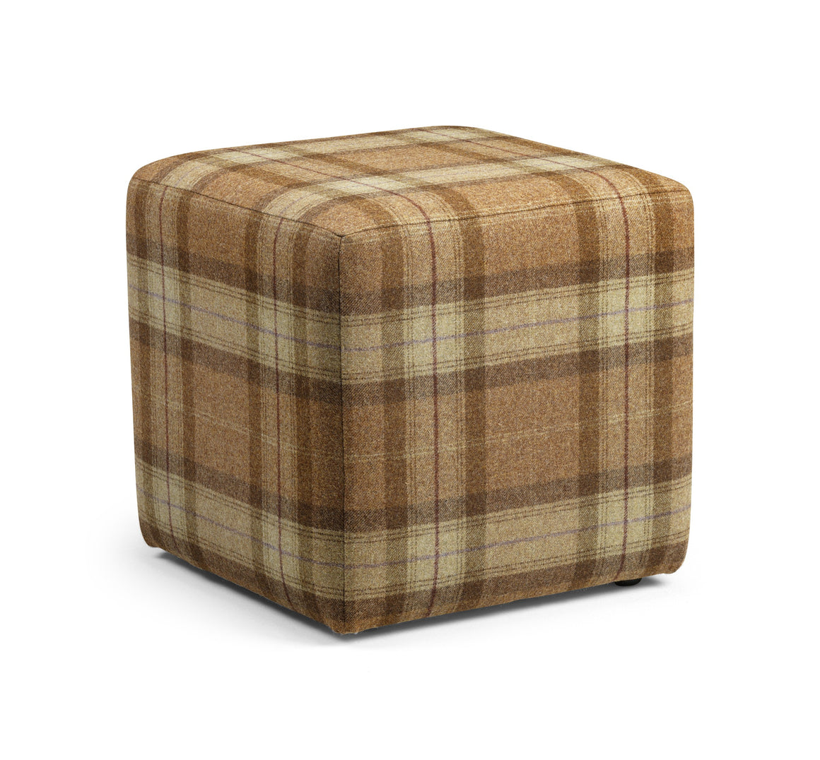 Cube footstool in Linwood Ollaberry Wool
