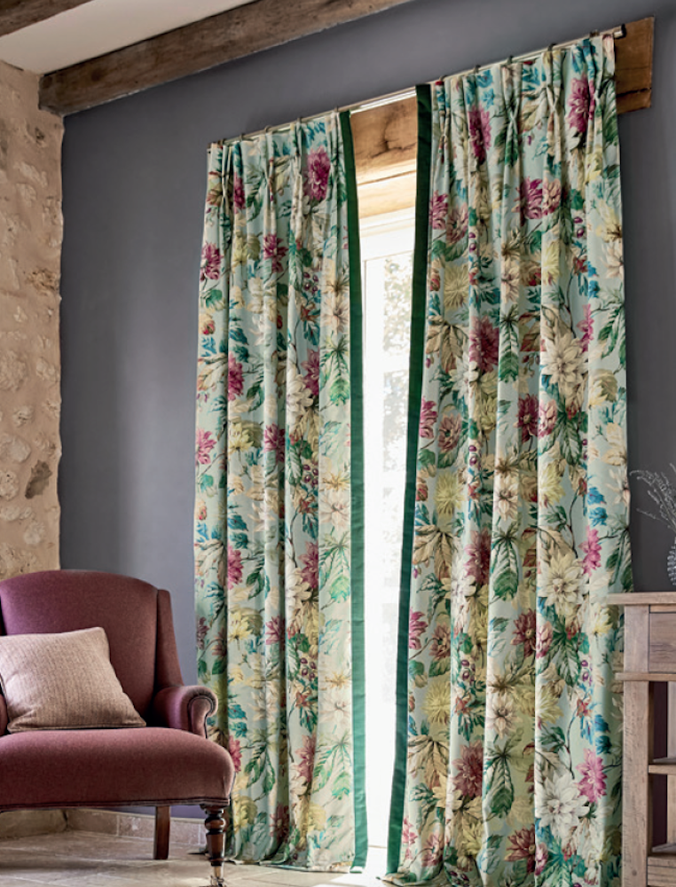 Hand made double pinch pleat headed curtains in Sanderson Elysian collection