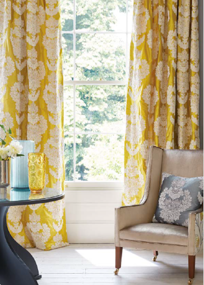 Hand made double pinch pleat headed curtains in James Hare Westbourne Damask
