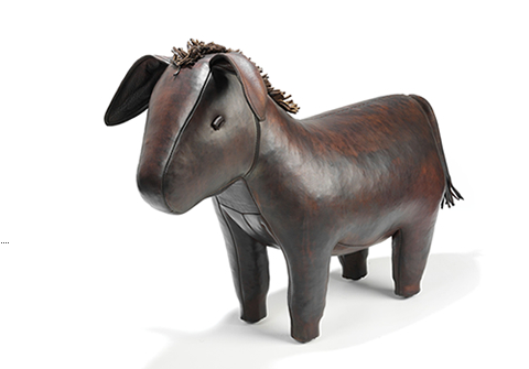 A Leather Donkey Footstool by Omersa