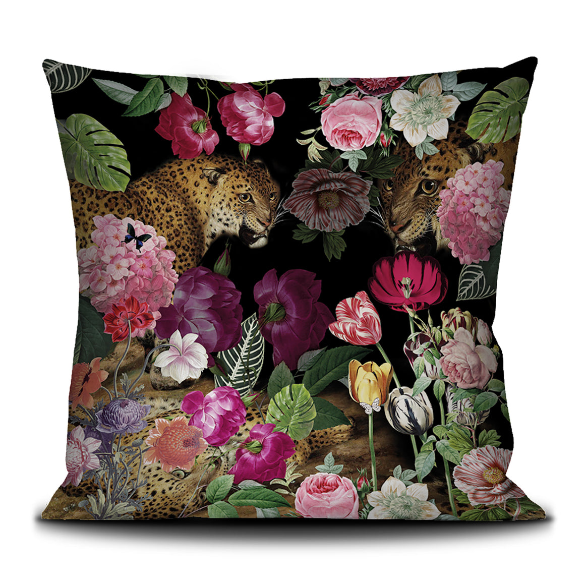 Leopards and flowers scatter cushion