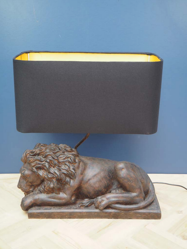 Clarence lion table lamp and shade