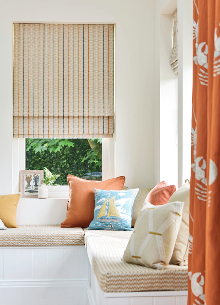 Hand made Roman Blinds and Curtain in Sanderson Port Isaac collection