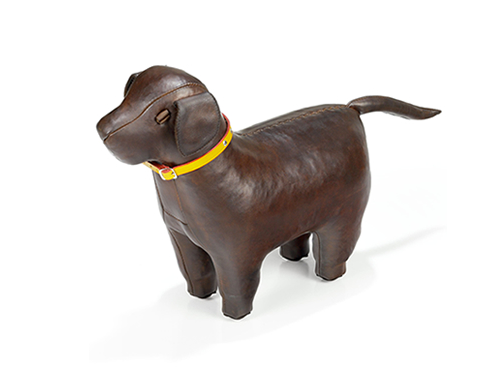 An Omersa Leather Labrador Doggy Footstool