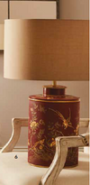 Red and gold painted bird motif table lamp and shade