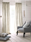 Machine made pencil pleat headed unlined curtains in Romo Kelso