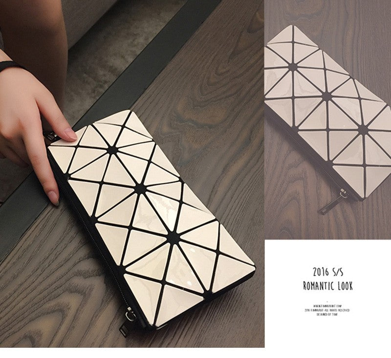 White Geometric Travel Makeup Cosmetic Bag