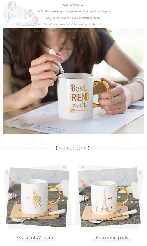 11oz ceramic coffee mug with gold printing and gold handle